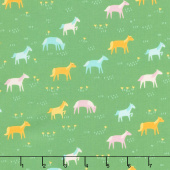 Best Friends Forever - Rainbow Ponies Green Yardage