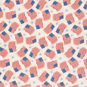 America, My Home - Flag and Star Toss Tan Yardage