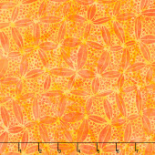 Peacock Galore Batiks - Circle Net Tangerine Yardage
