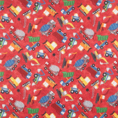 Construction Zone - Tossed Vehicles Red Multi Digitally Printed Yardage