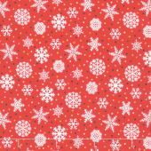 Snow Bird - Snowflake Red Flannel Yardage