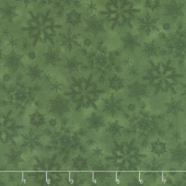 Woodland Haven - Snowflakes Green Flannel Yardage