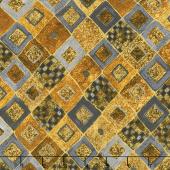Gustav Klimt - Squares Diamonds Gold Metallic Yardage