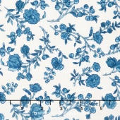 Hamilton - From Eliza Hamilton's Era c. 1770-1790 Vine Floral Blue Yardage