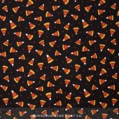 Pumpkin Party Flannel - Candy Corn Black Brown Yardage