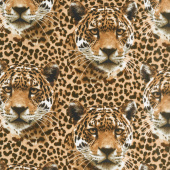 On the Wild Side - Leopard Faces Brown Yardage