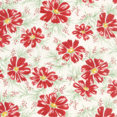 Sweet Harmony - Big Daisy Red Cream Yardage