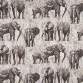 New Dawn - Elephants Gray Digitally Printed Yardage