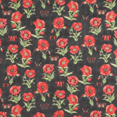 Harlequin Poppies - Poppies and Butterflies Black Yardage