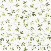 Wild Rose - Leaves Winter White Flannel Yardage