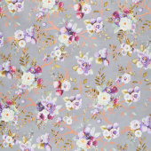 Lilac & Sage - Vines Fog Copper Pearl Metallic Yardage