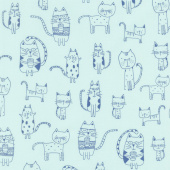 Whiskers & Tails - Coffee Cats Aqua Yardage