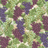 Novelty - Tossed Grapes on Vines Multi Yardage