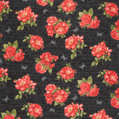 Garden Rose - Red Roses on Ancient Text Black Yardage