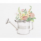 Susan Branch Metal Watering Can Garden Flowers Digitally Printed Panel