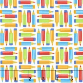 School Rules - Pencils White Yardage