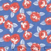 Feed Sacks: True Blue - Roses Cornflower Yardage