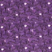 Frightful Night - Trees and Moon Purple Yardage