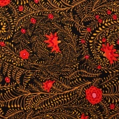 Kaffe Collective - Spicy Palette Ferns Black Yardage
