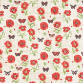 Harlequin Poppies - Poppies and Butterflies Cream Yardage