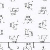 Penned Pals Flannel - Shadow Colorstory Cats White Yardage