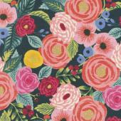 English Garden - Juliet Rose Navy Linen Canvas Yardage