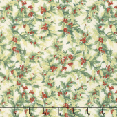 The Joy of Giving - Packed Greenery Cream Yardage