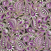 Cat-I-Tude Christmas - Paisley Swirl Purple Metallic Yardage