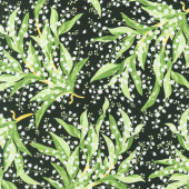 Greenery - Lily of the Valley Black Yardage