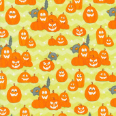 A Haunting We Will Glow - Pumpkins Lime Green Glow in the Dark Yardage