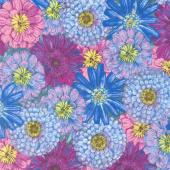 Blossom & Bloom - Packed Flowers Blue Yardage