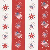 Harbor Springs - Flag & Star Bunting Red Yardage