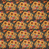 Happy Fall - Harvest Bouquet Midnight Yardage