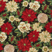 Holiday Lane - Large Floral Black Yardage