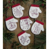 Redwork Mittens Ornaments Kit