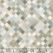"Hopscotch - Squares Grey Digitally Printed 108"" Wide Backing"