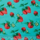 Fruta y Flor - Strawberry Patch Aqua Yardage