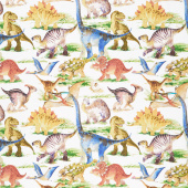 Dinosaur Friends - Dino Allover Multi Yardage