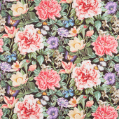 Botanica - Feature Floral Black Multi Digitally Printed Yardage
