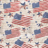 We the People - Rustic American Stars and Stripes Natural Yardage