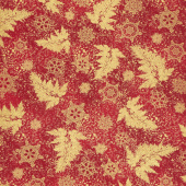 Holiday Flourish 12 - Branches Red Metallic Yardage