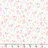 Easter Egg Hunt - Floral White Yardage