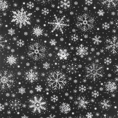 Let It Snow - Chalk Snowflakes Black Yardage