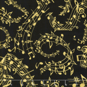 Novelty - Music Notes Black Yardage
