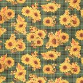 Autumn Elegance - Sunflower Plaid Green Metallic Yardage