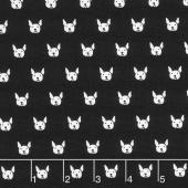 Whiskers & Tails - Dog Faces Black Yardage