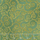 Winter's Grandeur 7 - Holiday Swirls Green Metallic Yardage