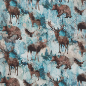 Whispering Pines - Wildlife Teal Multi Digitally Printed Yardage