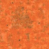 Halloweenie - Halloweenie Toile Orange Yardage