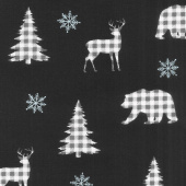 Holiday Lodge - Buffalo Plaid Forest Charcoal Yardage